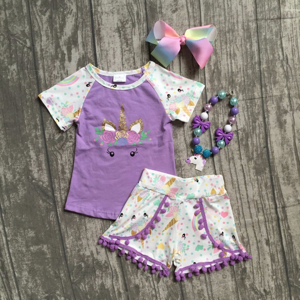 все цены на 2018 new arrival lavender unicorn short sleeves baby girls Summer boutique clothing pom-pom shorts with matching accessories