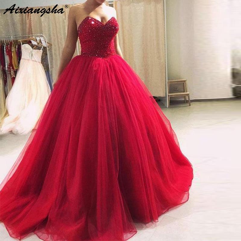 Реальные Индивидуальные Длинные Пром вечерние платья платье невесты с бисером тюль бальное платье красное платье для выпускного вечера 2019