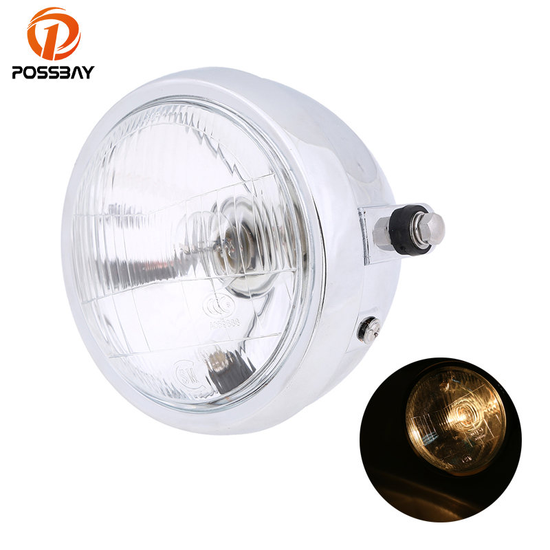 POSSBAY Chrome&Black Universal Motorcycle Headlights Custom Halogen Bulb Cafe Racer Light Bike ATV For Harley Suzuki Honda CG125 ...