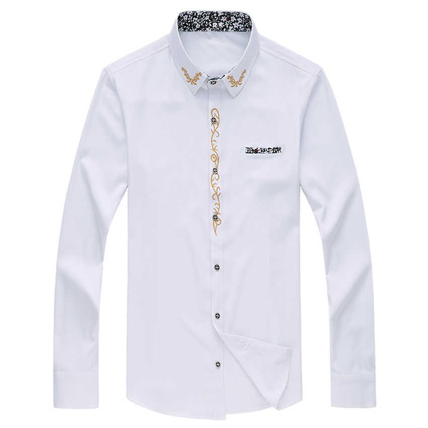 Cigna Gestickte Lange Hülse Hemd Männer Größe S 7XL Mens Shirts Mode Business Casual männer shirt 2018 Neue Mann Baumwolle hemd