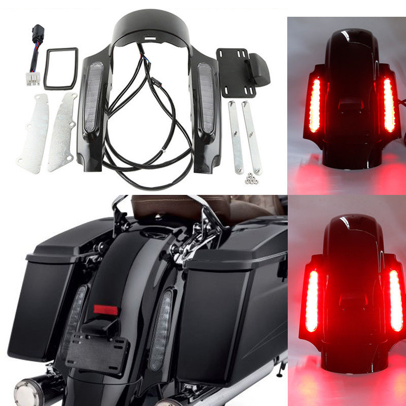 Motorcycle LED Light Rear Fender Fascia Set For Harley Touring Road King Street Electra Glide FLHX