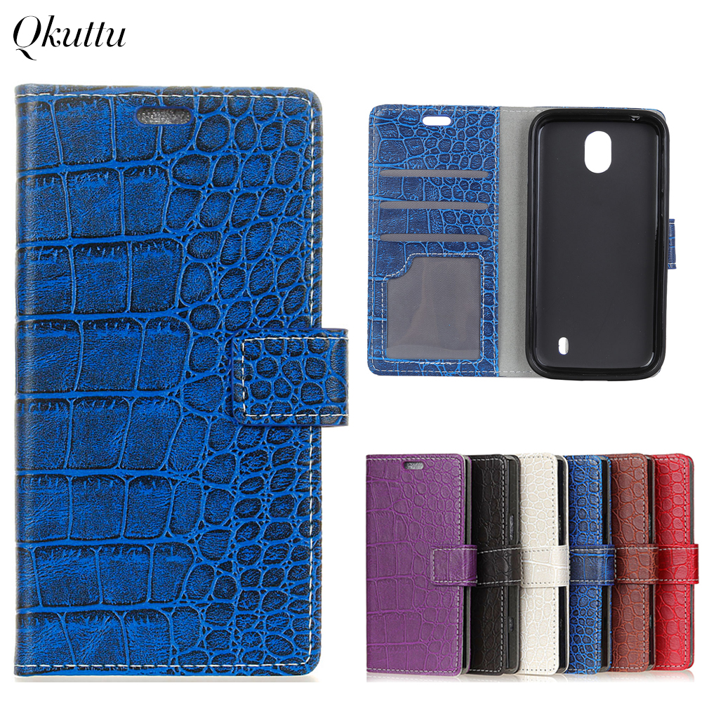Uftemr Vintage Crocodile PU Leather Cover for Nokia 1 Silicone Case Wallet Card Slot Phone Acessories for Nokia 1