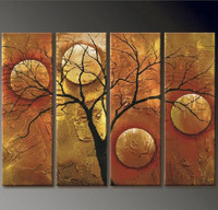 Modern Oil Painting Abstract Tree Round Geometric Canvas Art Pictures Home Wall Decoration 4 Panel Acrylic Paintings Pictures