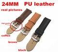 1 PCS de alta qualidade 24 MM assista couro PU relógio banda strap 3 cores disponíveis - 090104