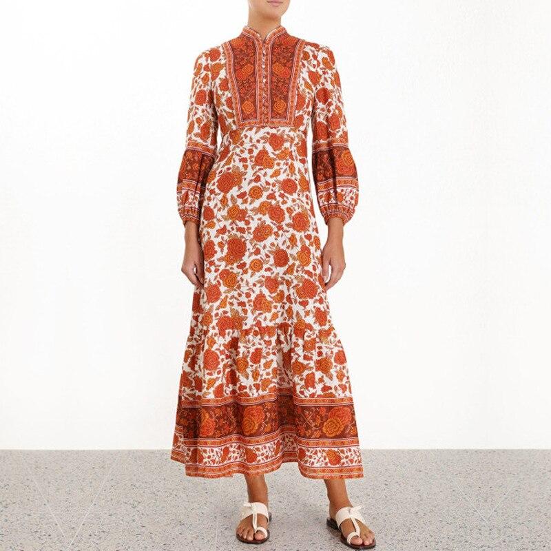 2019 รันเวย์ Designer Vintage พิมพ์ Maxi ชุดผู้หญิงสูงเอวแขนยาว Holiday Party Beach ชุดยาว Vestidos-ใน ชุดเดรส จาก เสื้อผ้าสตรี บน   1