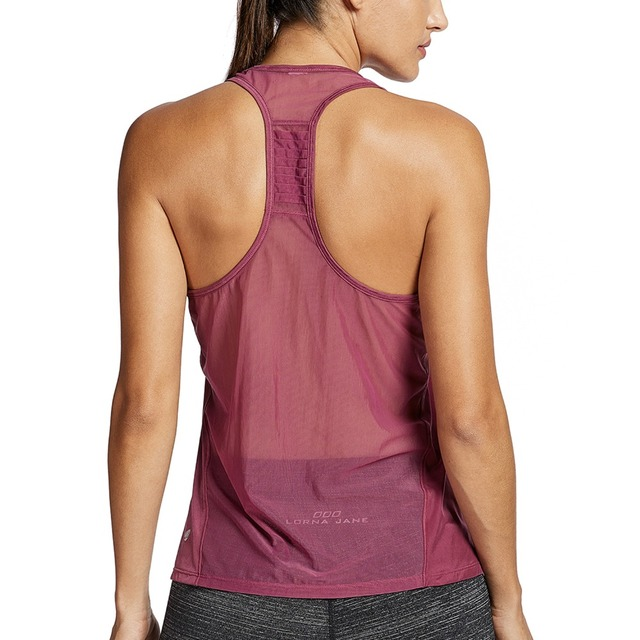 f0f2e946729ad Women s Sleeveless T-shirt Yoga Top Loose Fit Mesh Racerback Workout Gym Tank  Top Sportwear