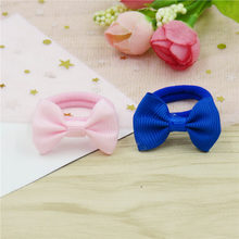 2PCS/LOT Lovely Solid Small Bows Hairpin For Girl Handmade Child Elastic Hair Bands Scrunchy Clip Hair Accessories For Kids 2018(China)