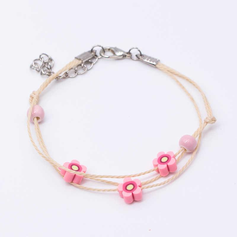 Flower Women's Ceramic hand made DIY Bracelets Artware Retro bracelet for woman girl gift Fashion Jewelery wholesale #5251