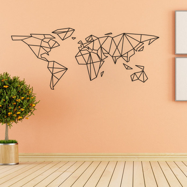 Creative Geometric World Map Vinyl Wall Decal Home Decor Living Room