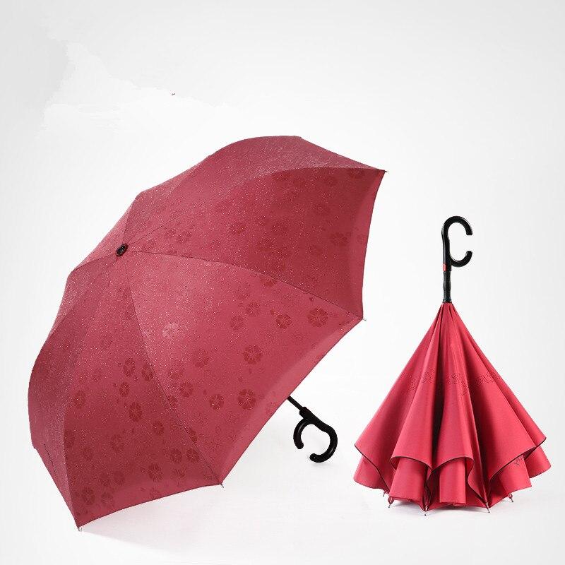 115 cm 2-3person auto ouvert c-crochet agrandir double couches inverse mains libres parapluie inversé eau fleur magique debout parasol