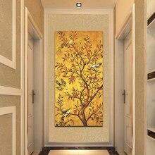 Arte e decoração da sala de estar, árvore da adivinhação tradicional e pássaros, posteres e impressões, pinturas de parede na parede para decoração de sala de quadros