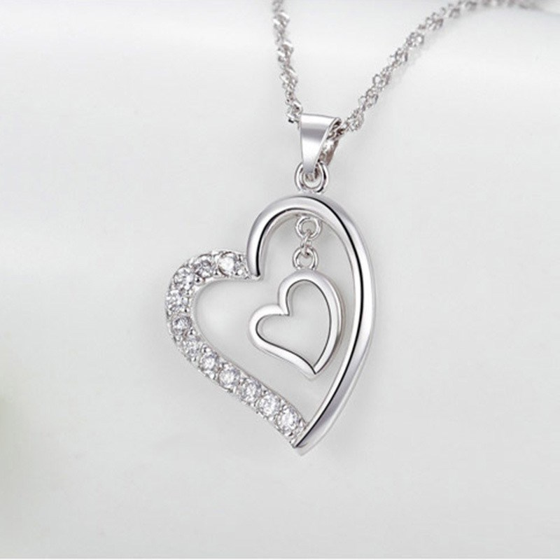 SHEON Heart Collection 925 Sterling Silver Simple Heart To Heart Zircon Pendant Necklaces For Women Sterling Silver Jewelry in Pendant Necklaces from Jewelry Accessories