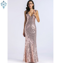 Ameision 2019 women Sexy V-neck sleeveless beaded sequined dresses simple court train long evening dress