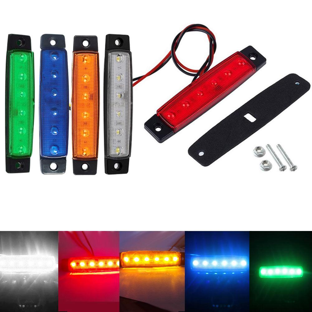 10Pcs Auto font b Car b font 12V 24V SMD 6 LED Rear Side Marker Light