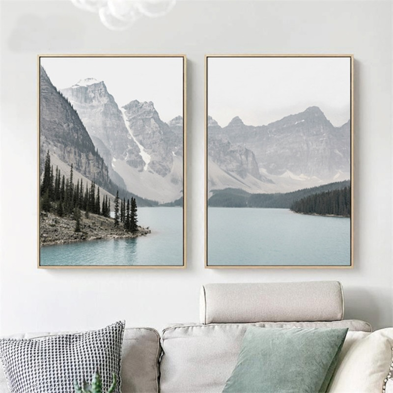 HTB1AM4qXvjsK1Rjy1Xaq6zispXaY Nordic Landscape Mountain Lake Canvas Paintings Home Decoration Living Room Wall Art Pictures Nature Scenery Posters and Prints