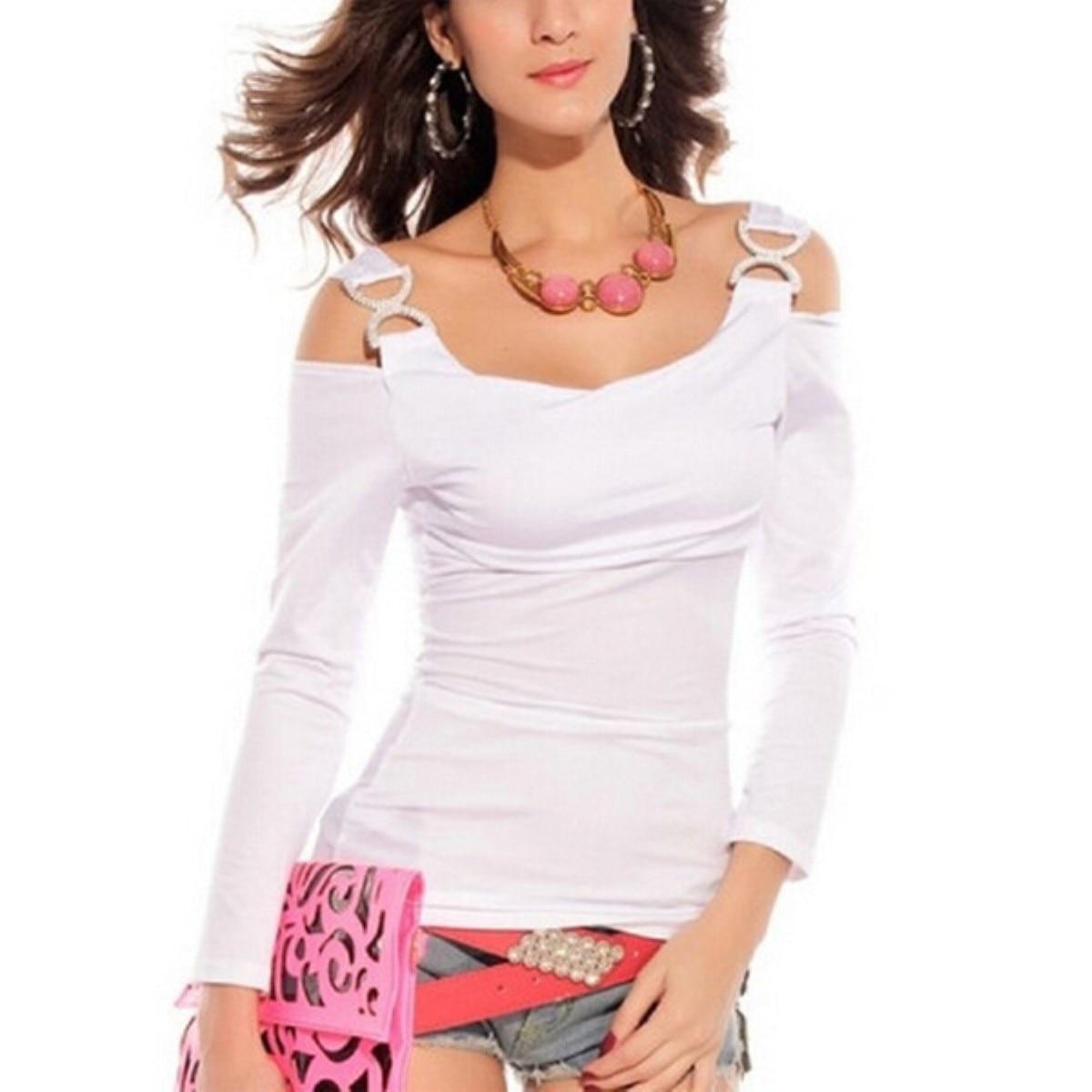 db60958bdbd01 ZANZEA Women T shirt Sexy Off Shoulder Tops Long Sleeve T Shirts 2018  Summer Autumn Slim Fit Casual Tee Buckless Blusa Plus Size-in T-Shirts from  Women s ...