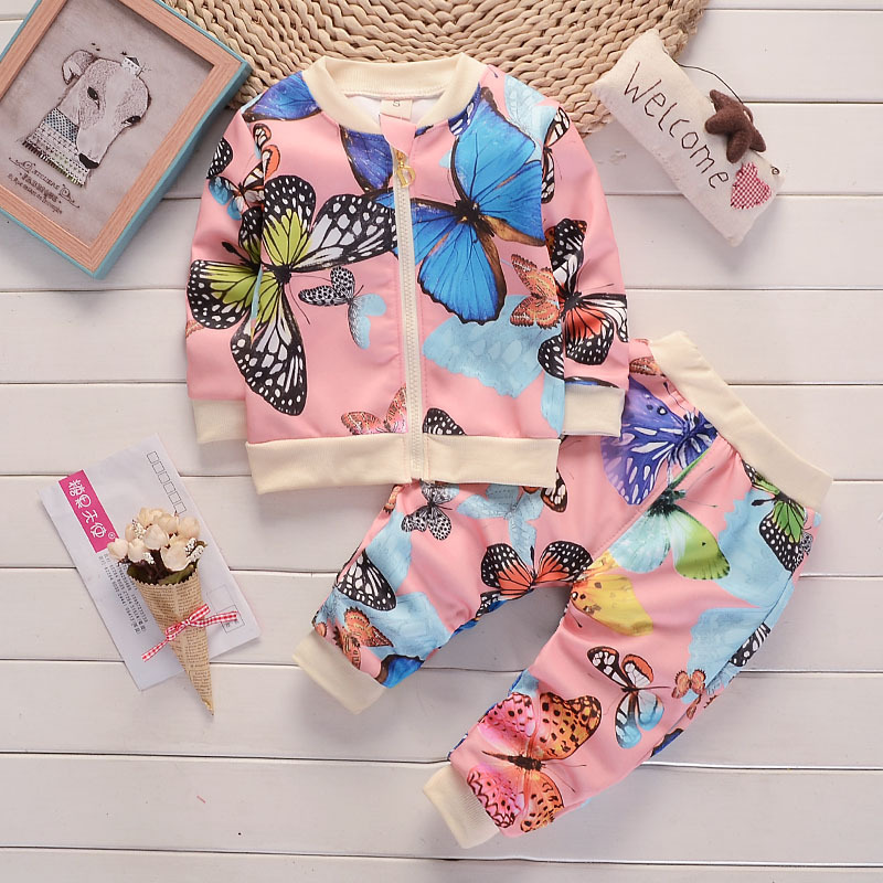 Baby Girl Clothes Sets For Children 2017 Autumn Long Sleeve Butterfly Floral Print Toddler Girls Baby Suit for Kid 1 2 3 4 Years children s spring and autumn girls bow plaid child children s cotton long sleeved dress baby girl clothes 2 3 4 5 6 7 years