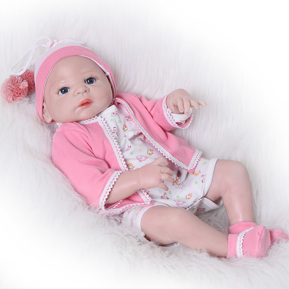 Hot Sale Reborn Dolls Babies 23 Full Silicone Vinyl Body Lifelike Sleeping Baby Toys Bebe Reborn Best Birthday Gifts For Kids free shipping hot sale real silicon baby dolls 55cm 22inch npk brand lifelike lovely reborn dolls babies toys for children gift