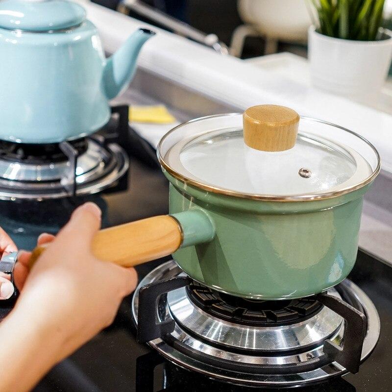 Pot à lait émail 1.5L Anti-débordement bébé auxiliaire Pot simple Induction cuisinière gaz ménage japonais cuisson nouilles Pot à soupe
