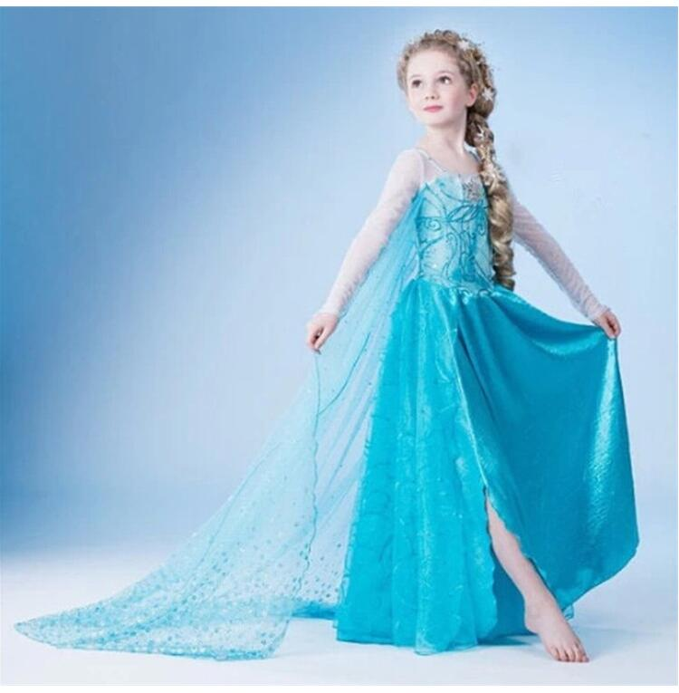 New 3-9 Y Girls Dresses Cartoon Cosplay Snow Queen Princess Dress Elsa Dresses Anna Cloak+Dress 2pc Sets Baby Kids Clothing elsa dress sparkling snow queen elsa princess girl party tutu dress cosplay anna elsa costume flower baby girls birthday dresses
