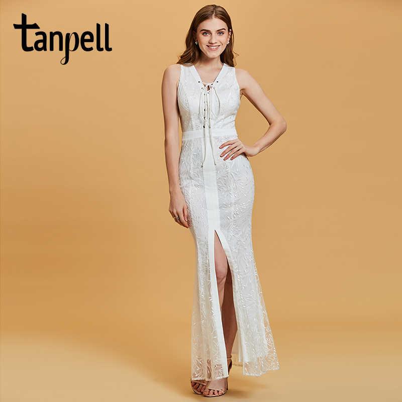 Tanpell Русалка длинное вечернее платье белого цвета без рукавов Кружева  этаж Длина платья дешевые женские v 9e7a946c3a947