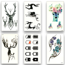 12pcs Fake Temporary waterproof Tattoo Water Transfer Disposable Deer Flower Stickers Beauty Sexy Body Art Live of Song X12ZH-11