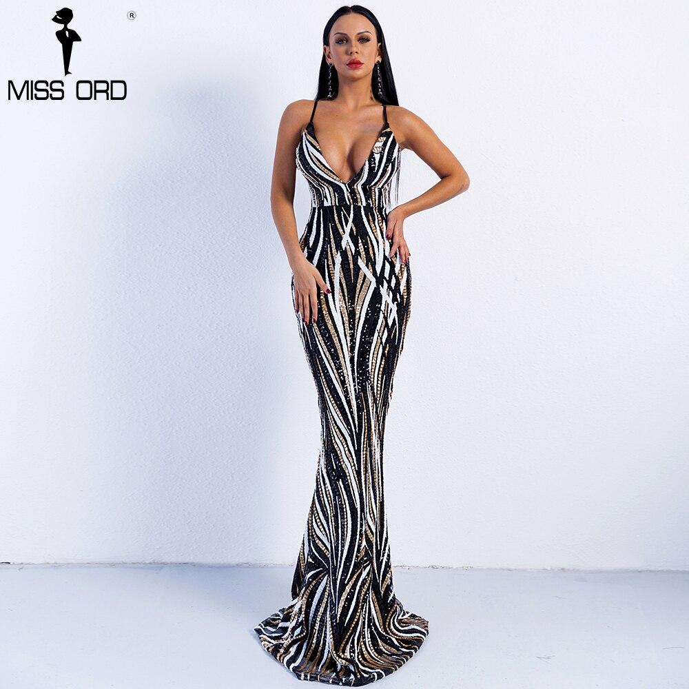Missord 2018 пикантные Изящные V шеи Off Shoulder Sequin платья женские макси Платье для вечеринки FT8927