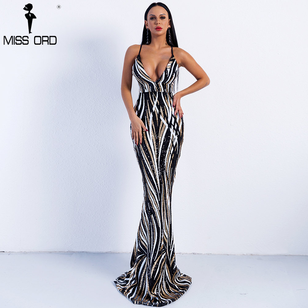 Missord 2019 Sexy gracieux col en V épaule dénudée Sequin femme Maxi soirée robe de soirée Vestidos FT8927