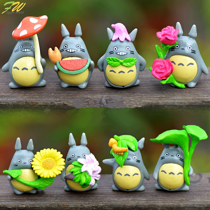 (8pcs/lot) My Neighbor Totoro Figure Gifts Doll Miniature Figurines Toys 2.6-3.5cm PVC Plactic Japanese Cute Lovely Anime 160336