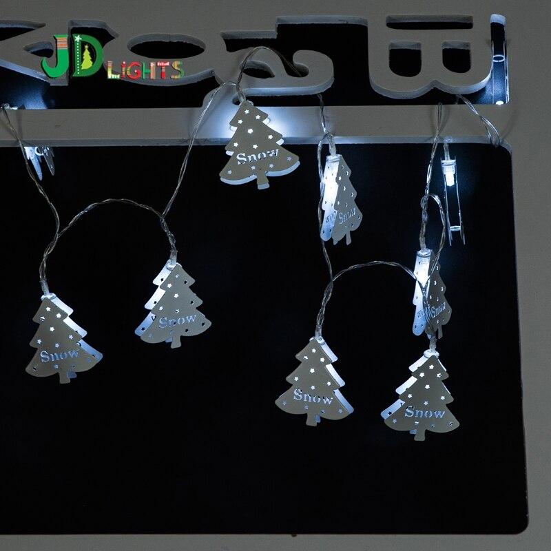 White Metallic fairy lights LED Christmas tree garland decoration lighting  metal xmas lighted Neol 10 lamps