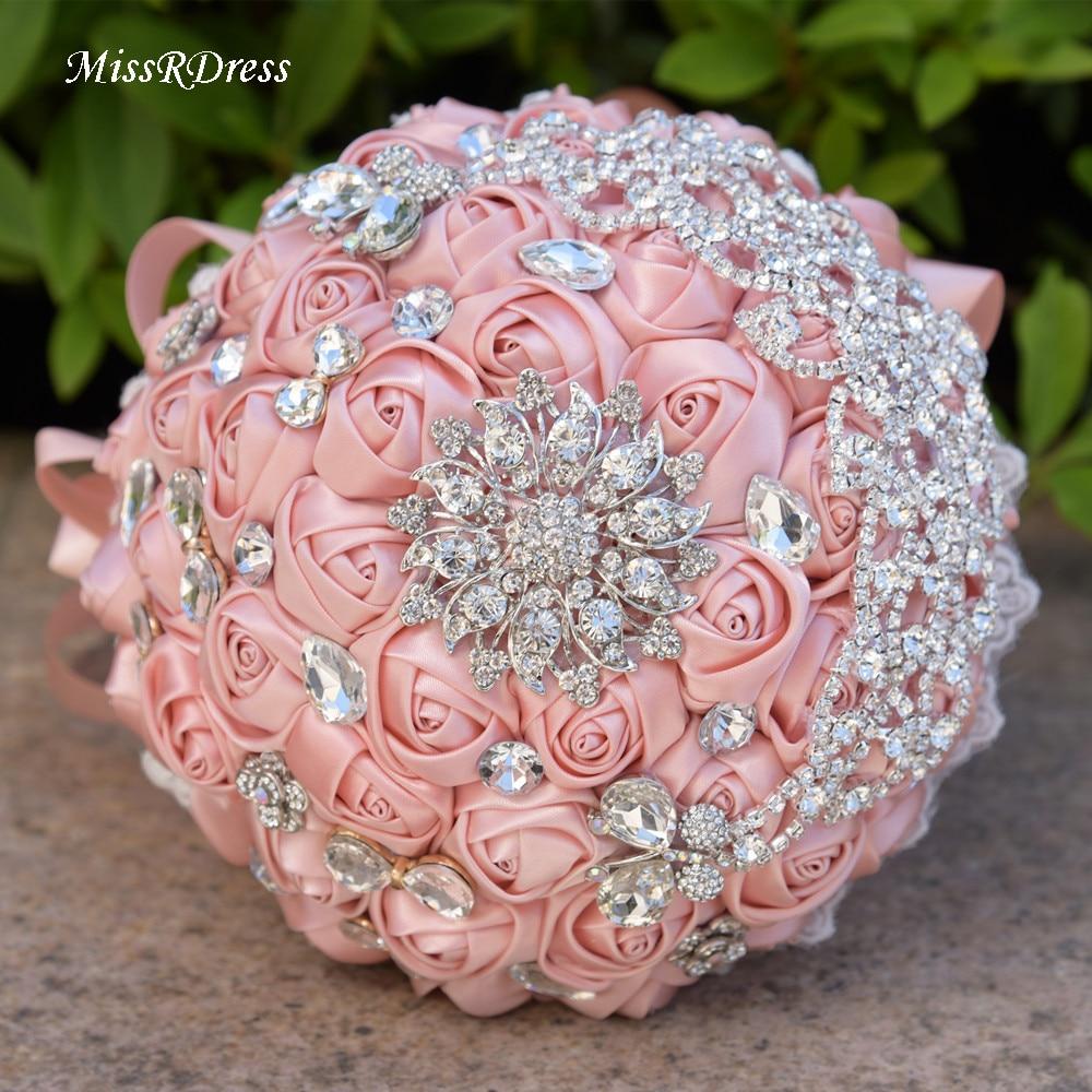 Wedding Bouquet Crystal Flowers: MissRDress Artificial Rose Wedding Bouquets Diamonds Pink
