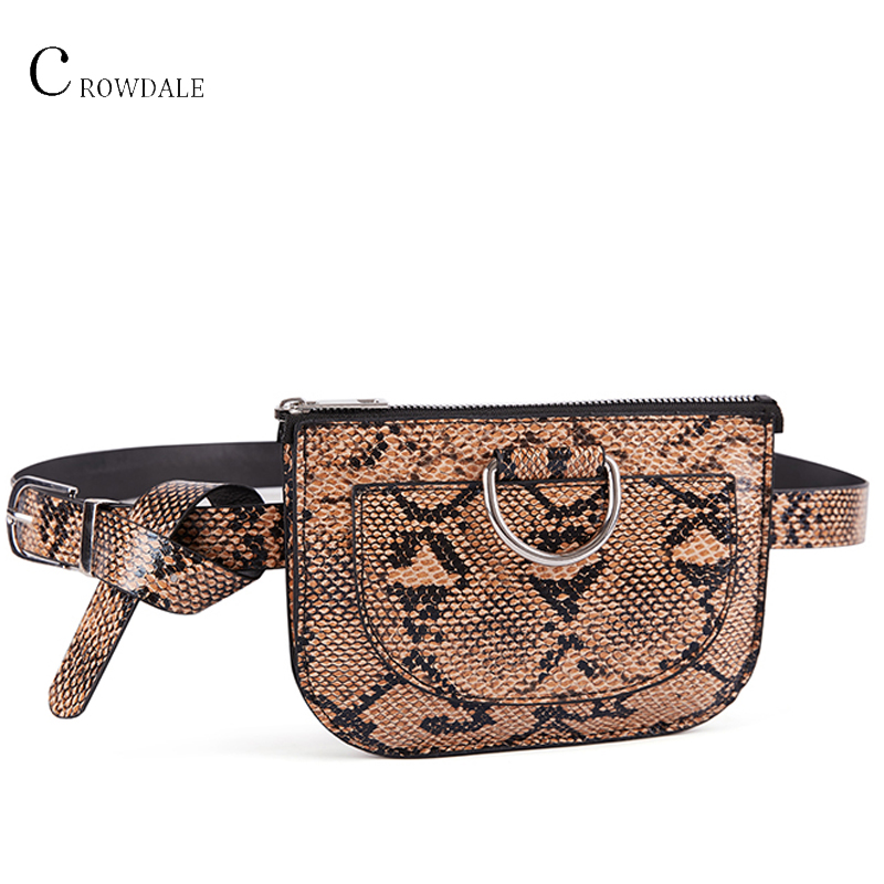 CROWDALE Women Waist Bag Serpentine Fanny Pack Pu Leather Chest Bag Female Fashion Snake Skin Belt Bag High Quality Purse