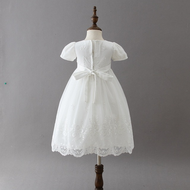 2018 summer Baby Girls Dress Toddler Girls white Chiffon  Bow Princess Dresses Tutu Party Wedding Dress for girls 3M-24M