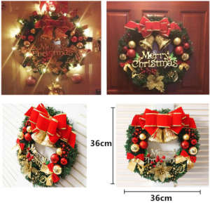 faroot large wreath door hanging ornament gold bells decor
