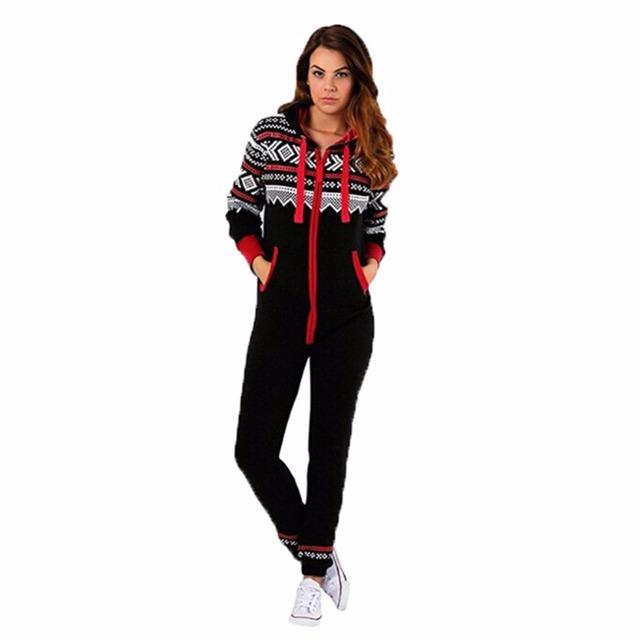 Winter Hooded Black Red Onesie Women – 21JS