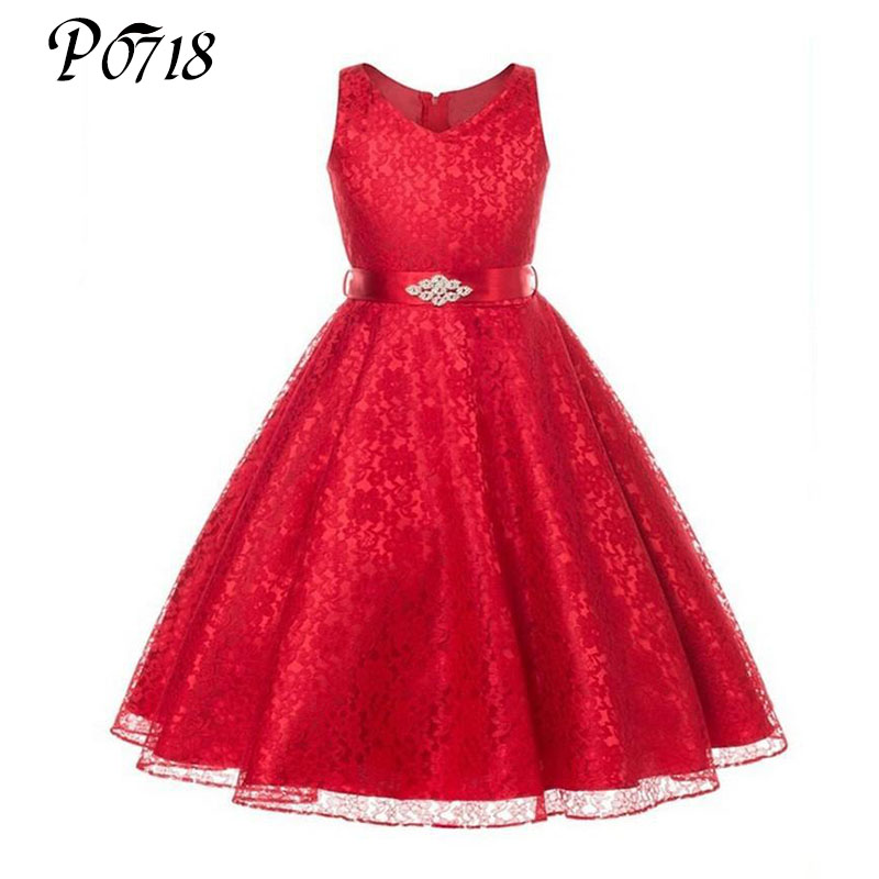 Girls Party Dress Kids 2017 Flower Lace Children Girls Elegant Ceremonies Wedding Birthday Dresses Teenager Prom Gowns Size 6-14 girls party wear tulle tutu dress kids elegant ceremonies wedding birthday dresses teenagers prom gowns flower girl dress