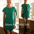 Faux Two Pieces Short Sleeve Crew Neck Womens Stretch Asymmetrical Top Mini Dress Solid