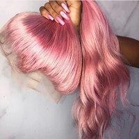 Roselover перуанские Remy человеческие волосы розовый цвет 13*6 передний парик шнурка предварительно сорвал волосы прямые волосы с волосами младен