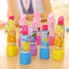 1 Pcs Lipstick Rotary Rubber Eraser Kawaii Stationery Student Prize Children Gift Office School Supplies Random Color