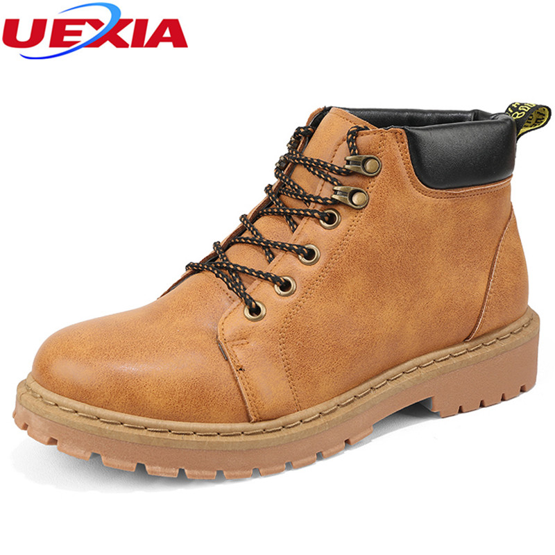 UEXIA Leather Winter Shoes Men Soft Comfortable Casual Man Snow Boots botas hombre High Quality Booties Fashion Casual Men Boots new high quality genuine leather shoes men flats fashion men s casual shoes brand man soft comfortable casual shoes