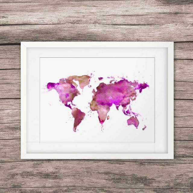 Purple World Map Wall Art Poster Watercolor World Map Art Print - Pink world map poster