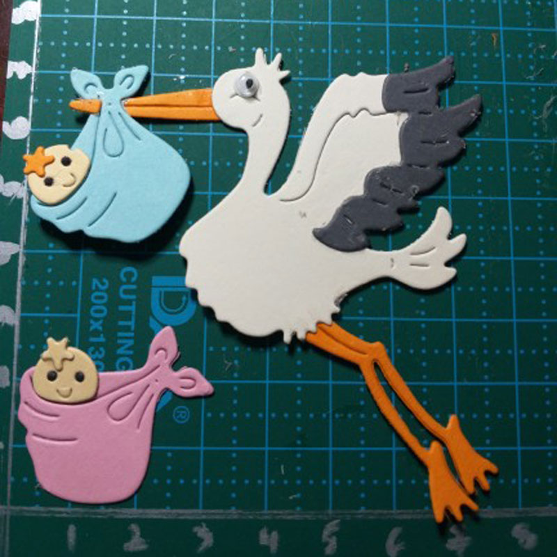 STORKS WITH PINK BUNDLES  X 4 DIE CUTS EMBELLISHMENTS PAPER STORK NEW BABY