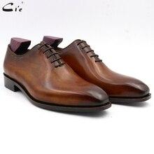 Cie chaussures personnalisées à bout carré pour hommes, chaussures de bureau en cuir de veau, faites à la main, couleur marron OX08