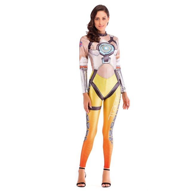 ecb193e41d93d OW Hero Tracer Costume Cosplay Anime Bodysuit Halloween Costumes For Women  Plus Size Jumpsuit