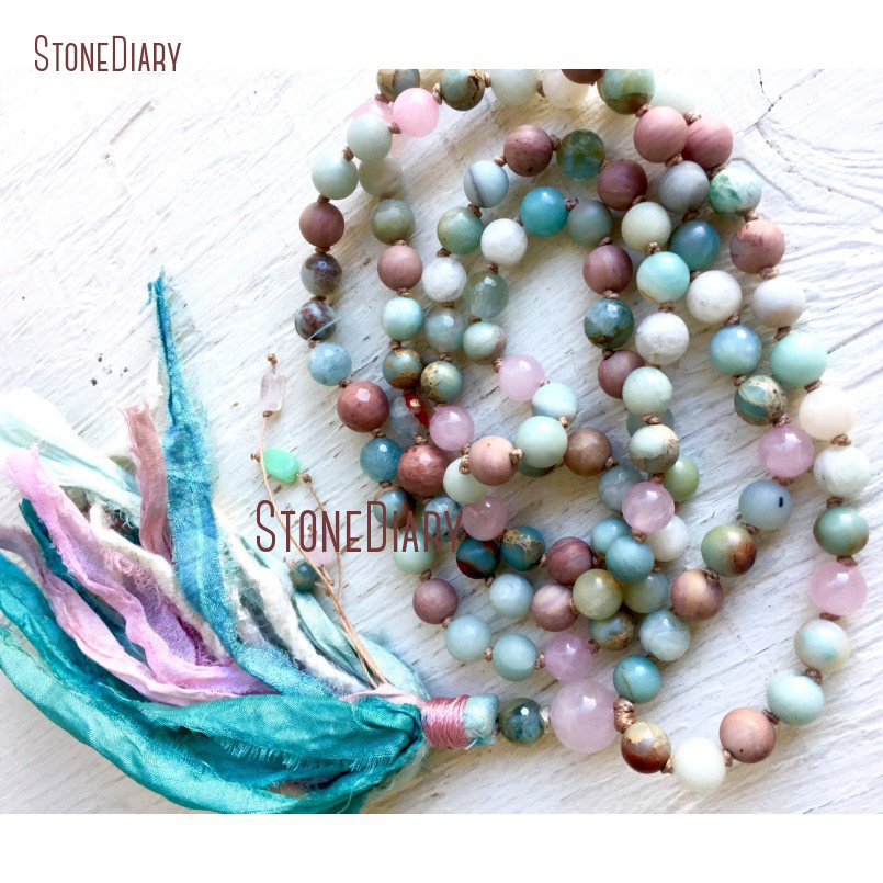108 Beads March Birthstone Rose Quartzs Aquamarines Amazonite African Opal Rhodonite Hand Knotted Mala Tassel Necklace NM11095
