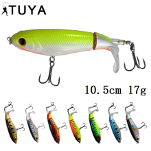 Купить с кэшбэком TUYA Rotating Tail Topwater Wobblers Popper Fishing Lure Trolling Minnow whopper plopper Bionic fish artificial bait 10.5cm 17g