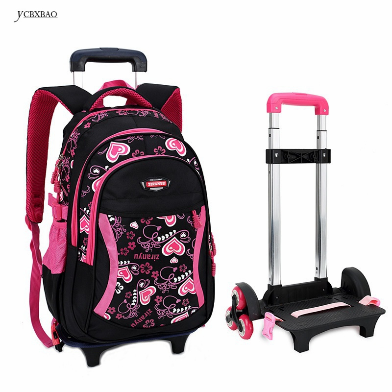 Children Trolley School Bag Backpack Wheeled School Bag For Grils Kids Wheel Schoolbag Student Backpacks Bags цена 2017