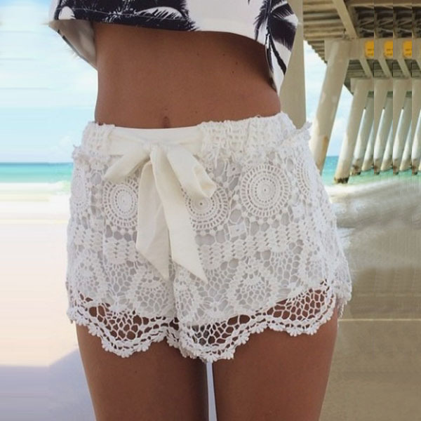 summer woman short pants sweet style blue white lace shorts with bow crochet slim beach hot. Black Bedroom Furniture Sets. Home Design Ideas