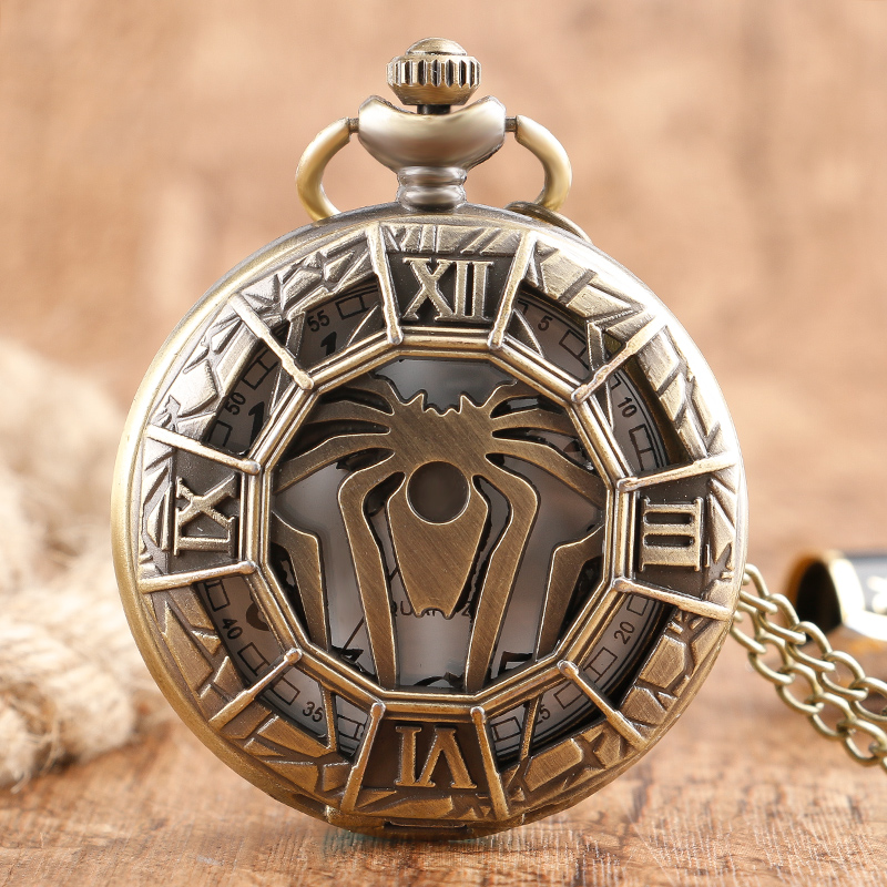 2018 New Arrival Bronze Copper Full Hunter Pocket Watch Quartz Necklace Spider Fashion Retro Casual Women Men Unique Gifts