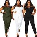 2016 Marca de Moda Otoño Invierno de Las Mujeres de Los Mamelucos Buzos Plus Size Regular Encuadre de cuerpo entero Maxi Mono 4XL Encaje de Malla